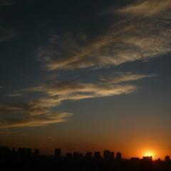 Tramonto sulla città di Shenyang